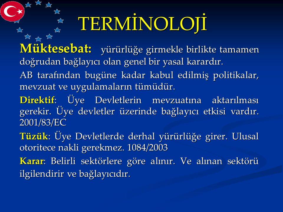 TERMİNOLOJİ Katılım Ortaklığı Belgesi : Avrupa Birliği'nin, aday ülkeler için hazırladığı, aday ülkelerin AB'ye üye olabilmek için yerine getirmesi gereken önceliklerin yer aldığı belgedir.