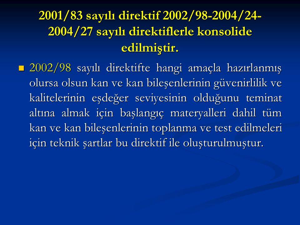 2001/83 sayılı direktif 2002/98-2004/24- 2004/27 sayılı direktiflerle konsolide edilmiştir. 2002/98 sayılı direktifte hangi amaçla hazırlanmış olursa