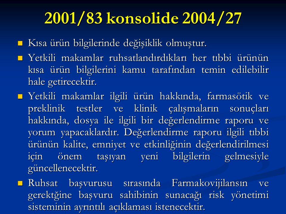 2001/83 konsolide 2004/27 Kısa ürün bilgilerinde değişiklik olmuştur. Kısa ürün bilgilerinde değişiklik olmuştur. Yetkili makamlar ruhsatlandırdıkları
