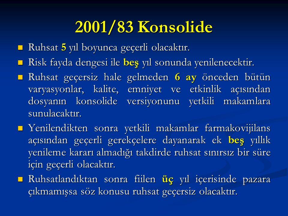 2001/83 Konsolide Ruhsat 5 yıl boyunca geçerli olacaktır. Ruhsat 5 yıl boyunca geçerli olacaktır. Risk fayda dengesi ile beş yıl sonunda yenilenecekti