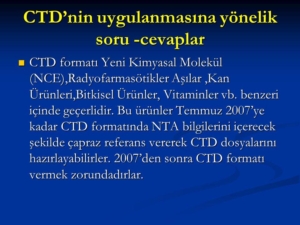 CTD'nin uygulanmasına yönelik soru -cevaplar CTD formatı Yeni Kimyasal Molekül (NCE),Radyofarmasötikler Aşılar,Kan Ürünleri,Bitkisel Ürünler, Vitaminl