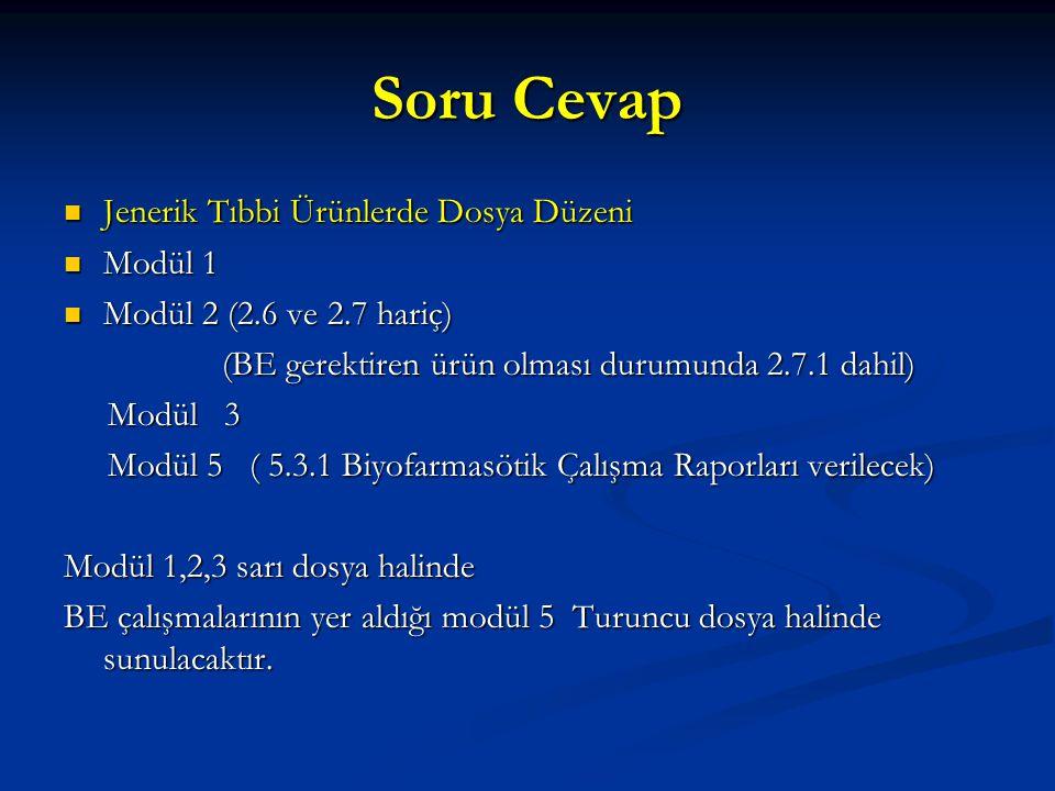 Soru Cevap Jenerik Tıbbi Ürünlerde Dosya Düzeni Jenerik Tıbbi Ürünlerde Dosya Düzeni Modül 1 Modül 1 Modül 2 (2.6 ve 2.7 hariç) Modül 2 (2.6 ve 2.7 ha