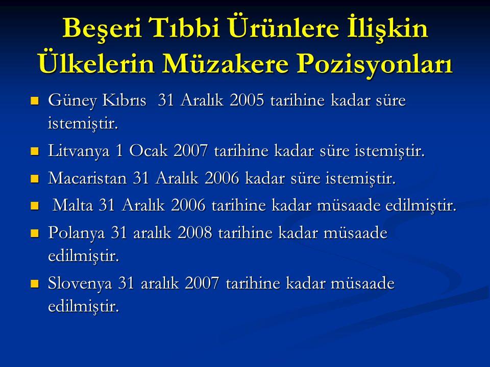 Beşeri Tıbbi Ürünlere İlişkin Ülkelerin Müzakere Pozisyonları Güney Kıbrıs 31 Aralık 2005 tarihine kadar süre istemiştir. Güney Kıbrıs 31 Aralık 2005