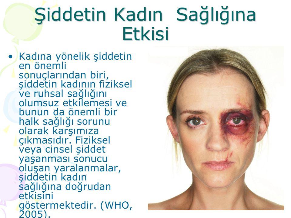 Şiddetin Kadın Sağlığına Etkisi Kadına yönelik şiddetin en önemli sonuçlarından biri, şiddetin kadının fiziksel ve ruhsal sağlığını olumsuz etkilemesi