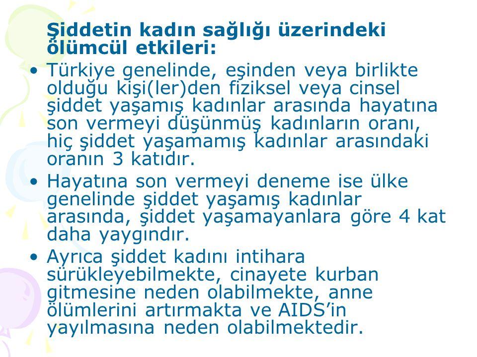 Şiddetin kadın sağlığı üzerindeki ölümcül etkileri: Türkiye genelinde, eşinden veya birlikte olduğu kişi(ler)den fiziksel veya cinsel şiddet yaşamış k