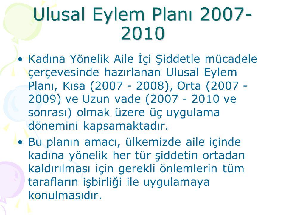Ulusal Eylem Planı 2007- 2010 Kadına Yönelik Aile İçi Şiddetle mücadele çerçevesinde hazırlanan Ulusal Eylem Planı, Kısa (2007 - 2008), Orta (2007 - 2