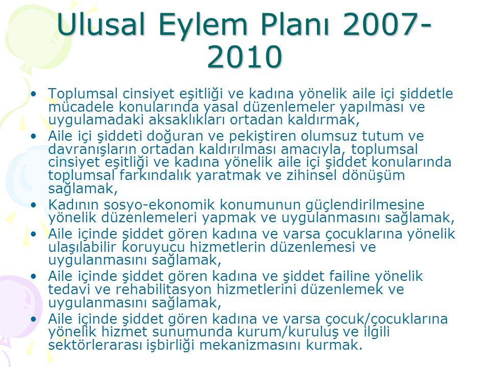 Ulusal Eylem Planı 2007- 2010 Toplumsal cinsiyet eşitliği ve kadına yönelik aile içi şiddetle mücadele konularında yasal düzenlemeler yapılması ve uyg