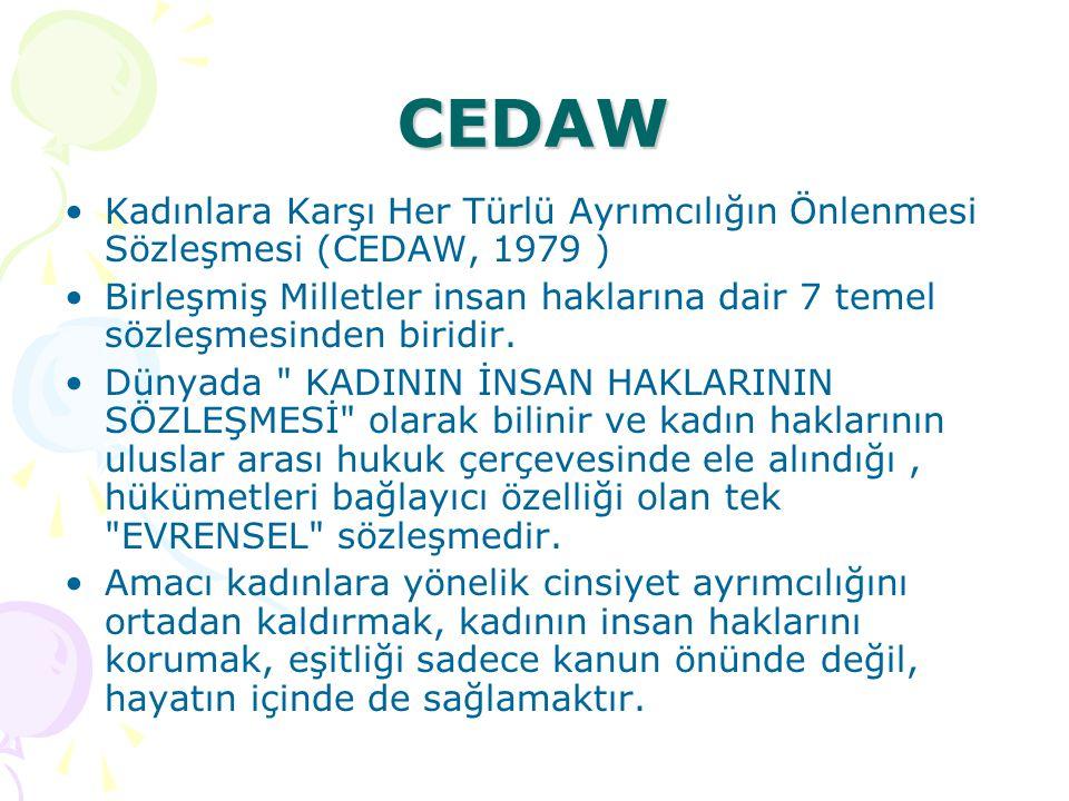 CEDAW Kadınlara Karşı Her Türlü Ayrımcılığın Önlenmesi Sözleşmesi (CEDAW, 1979 ) Birleşmiş Milletler insan haklarına dair 7 temel sözleşmesinden birid