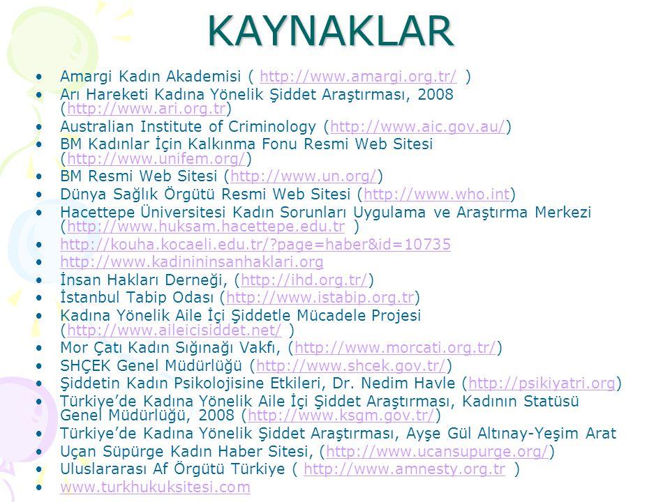 KAYNAKLAR Amargi Kadın Akademisi ( http://www.amargi.org.tr/ )http://www.amargi.org.tr/ Arı Hareketi Kadına Yönelik Şiddet Araştırması, 2008 (http://w