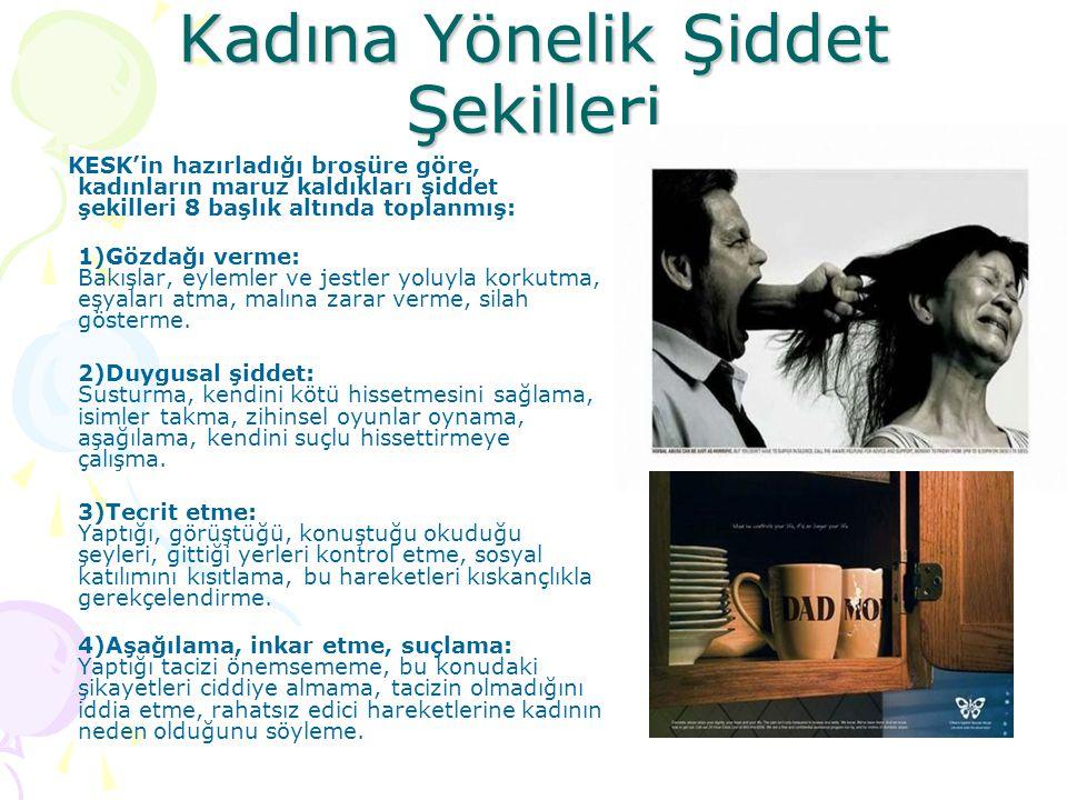 Kadına Yönelik Şiddet Şekilleri KESK'in hazırladığı broşüre göre, kadınların maruz kaldıkları şiddet şekilleri 8 başlık altında toplanmış: 1)Gözdağı v