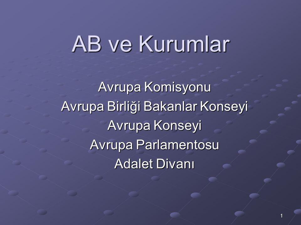 1 AB ve Kurumlar Avrupa Komisyonu Avrupa Birliği Bakanlar Konseyi Avrupa Konseyi Avrupa Parlamentosu Adalet Divanı