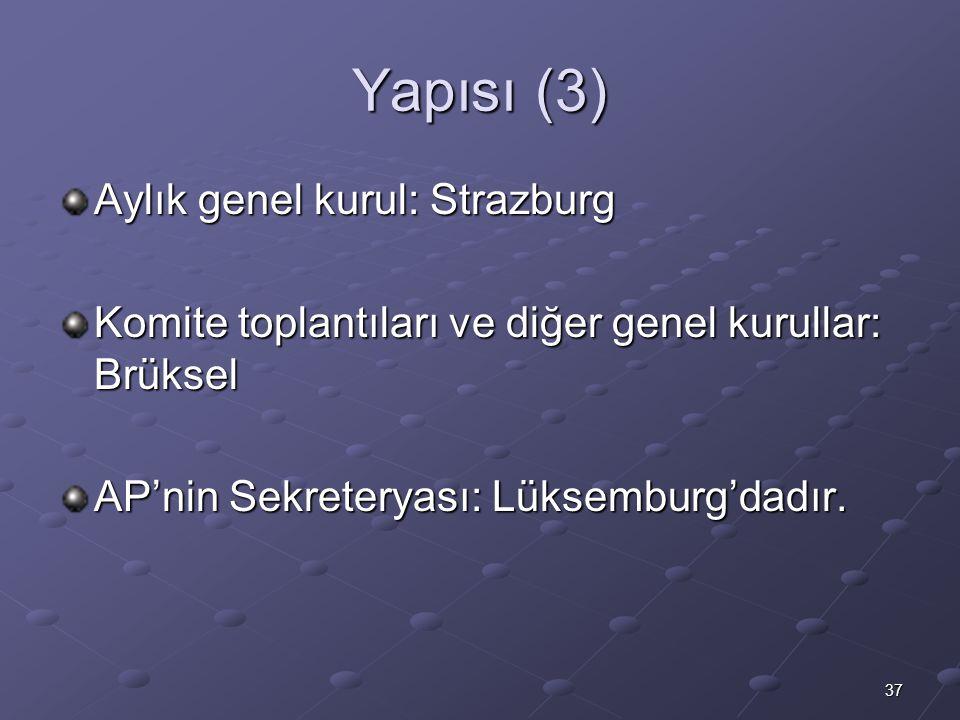 37 Yapısı (3) Aylık genel kurul: Strazburg Komite toplantıları ve diğer genel kurullar: Brüksel AP'nin Sekreteryası: Lüksemburg'dadır.