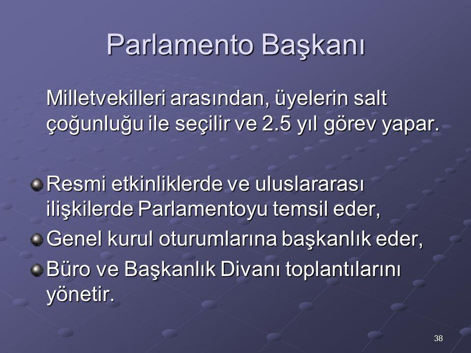 38 Parlamento Başkanı Milletvekilleri arasından, üyelerin salt çoğunluğu ile seçilir ve 2.5 yıl görev yapar. Resmi etkinliklerde ve uluslararası ilişk