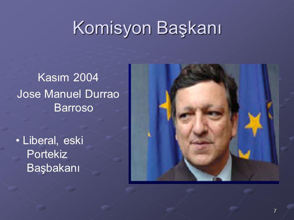 7 Komisyon Başkanı Kasım 2004 Jose Manuel Durrao Barroso Liberal, eski Portekiz Başbakanı