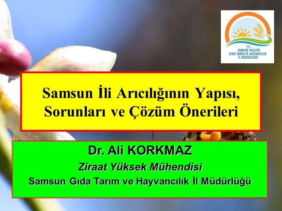 Samsun İli Arıcılığının Yapısı, Sorunları ve Çözüm Önerileri Dr. Ali KORKMAZ Ziraat Yüksek Mühendisi Samsun Gıda Tarım ve Hayvancılık İl Müdürlüğü
