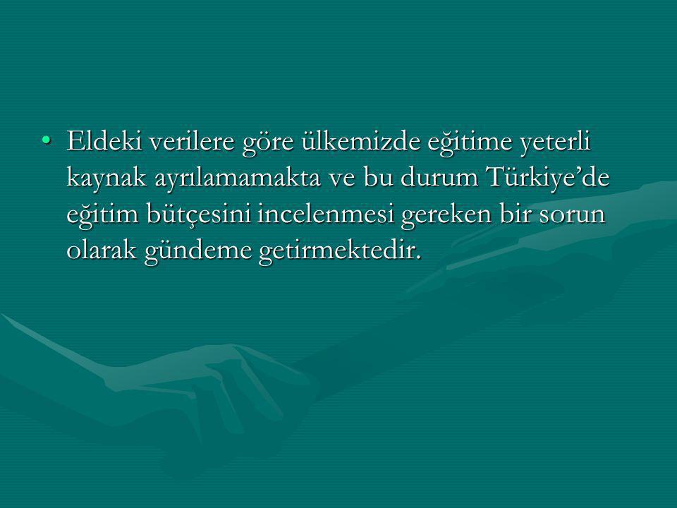 Eldeki verilere göre ülkemizde eğitime yeterli kaynak ayrılamamakta ve bu durum Türkiye'de eğitim bütçesini incelenmesi gereken bir sorun olarak günde