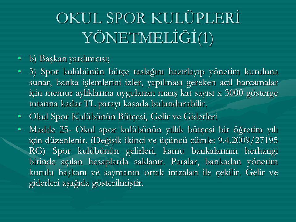 OKUL SPOR KULÜPLERİ YÖNETMELİĞİ(1) b) Başkan yardımcısı;b) Başkan yardımcısı; 3) Spor kulübünün bütçe taslağını hazırlayıp yönetim kuruluna sunar, ban