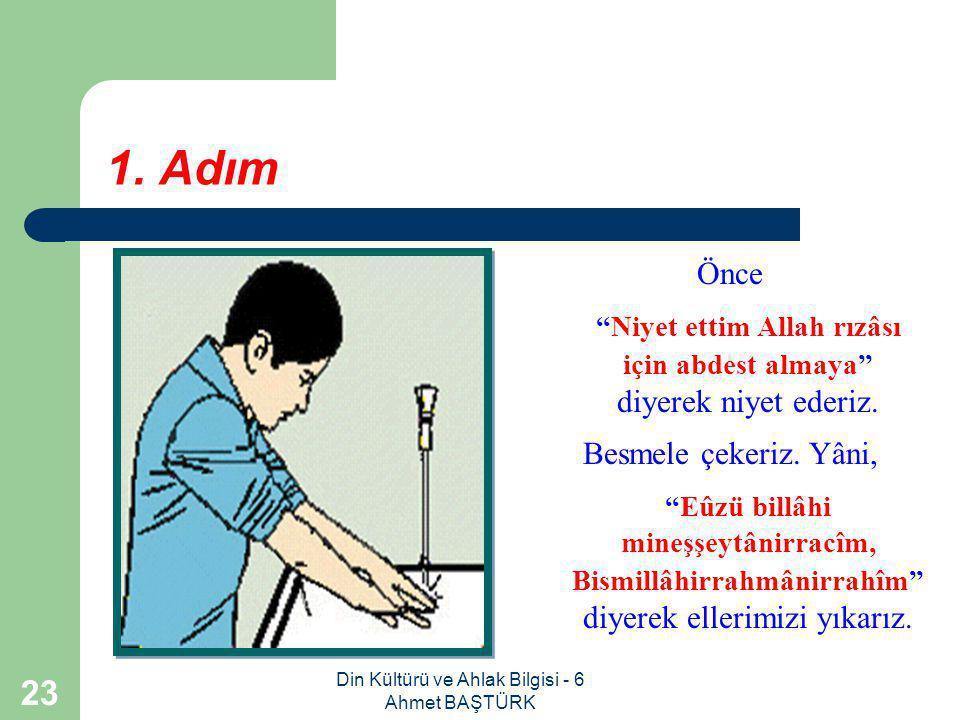 Din Kültürü ve Ahlak Bilgisi - 6 Ahmet BAŞTÜRK 22 Adım adım abdesti öğrenelim