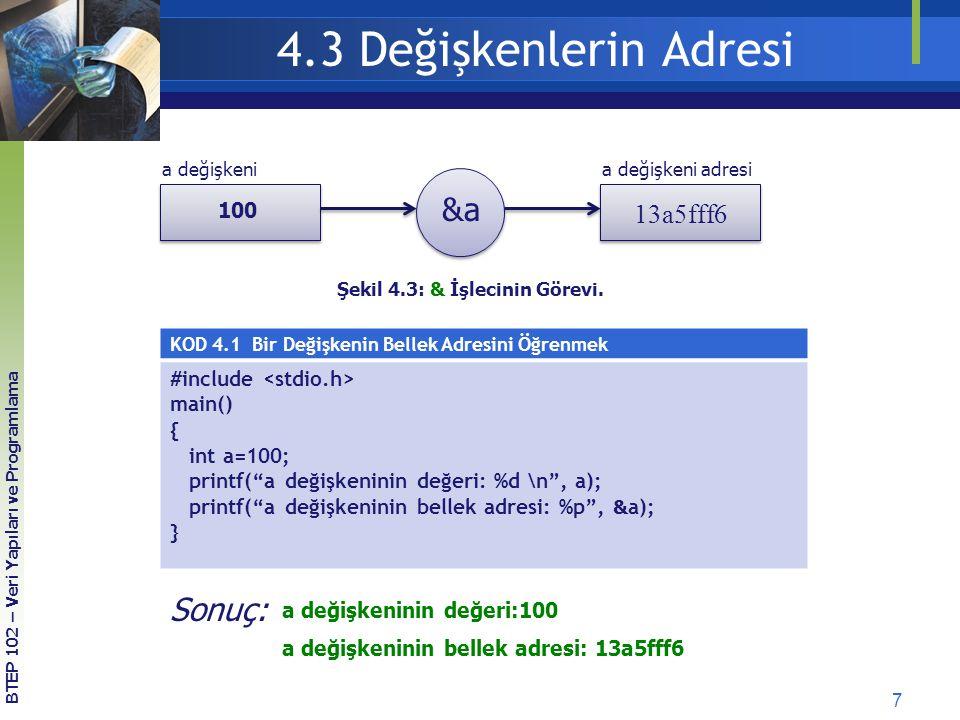 7 BTEP 102 – Veri Yapıları ve Programlama Şekil 4.3: & İşlecinin Görevi. a değişkeni adresia değişkeni 100 13a5fff6 &a KOD 4.1 Bir Değişkenin Bellek A