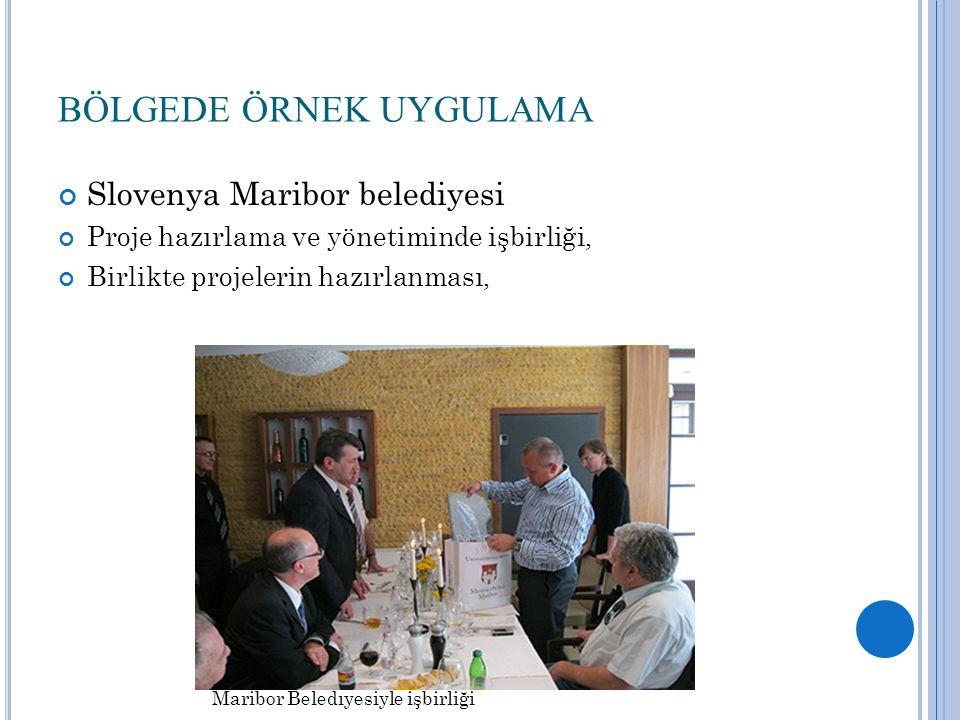 BÖLGEDE ÖRNEK UYGULAMA Slovenya Maribor belediyesi Proje hazırlama ve yönetiminde işbirliği, Birlikte projelerin hazırlanması, Maribor Beledıyesiyle işbirliği