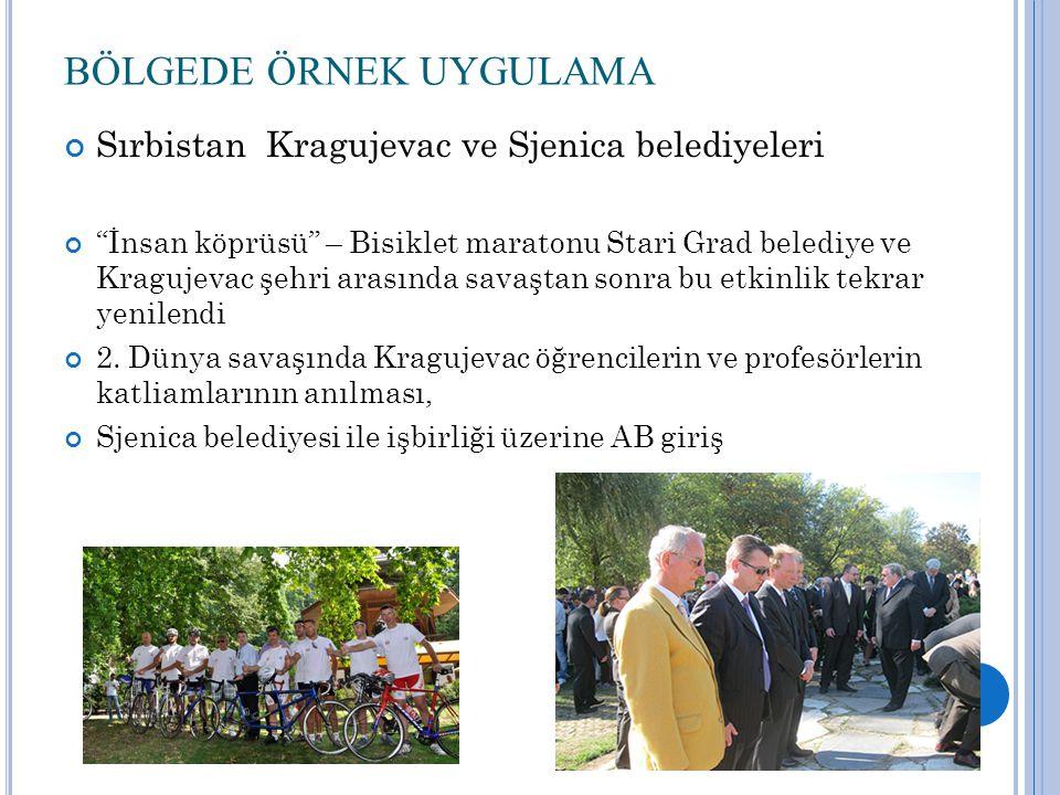 BÖLGEDE ÖRNEK UYGULAMA Sırbistan Kragujevac ve Sjenica belediyeleri İnsan köprüsü – Bisiklet maratonu Stari Grad belediye ve Kragujevac şehri arasında savaştan sonra bu etkinlik tekrar yenilendi 2.