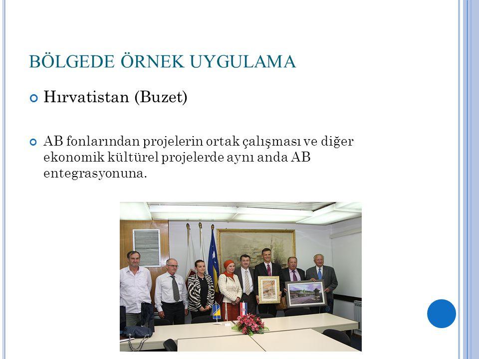 BÖLGEDE ÖRNEK UYGULAMA Hırvatistan (Buzet) AB fonlarından projelerin ortak çalışması ve diğer ekonomik kültürel projelerde aynı anda AB entegrasyonuna.