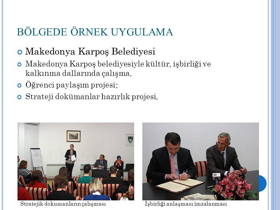 BÖLGEDE ÖRNEK UYGULAMA Makedonya Karpoş Belediyesi Makedonya Karpoş belediyesiyle kültür, işbirliği ve kalkınma dallarında çalışma, Öğrenci paylaşım projesi; Strateji dokümanlar hazırlık projesi, Stratejik dokumanların çalışmasıİşbirliği anlaşması imzalanması