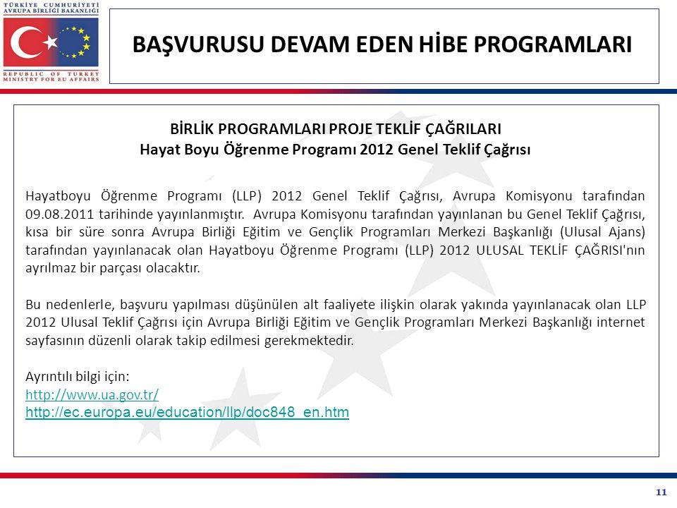 11 BAŞVURUSU DEVAM EDEN HİBE PROGRAMLARI BİRLİK PROGRAMLARI PROJE TEKLİF ÇAĞRILARI Hayat Boyu Öğrenme Programı 2012 Genel Teklif Çağrısı Hayatboyu Öğrenme Programı (LLP) 2012 Genel Teklif Çağrısı, Avrupa Komisyonu tarafından 09.08.2011 tarihinde yayınlanmıştır.