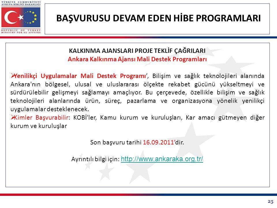 25 BAŞVURUSU DEVAM EDEN HİBE PROGRAMLARI KALKINMA AJANSLARI PROJE TEKLİF ÇAĞRILARI Ankara Kalkınma Ajansı Mali Destek Programları  Yenilikçi Uygulamalar Mali Destek Programı', Bilişim ve sağlık teknolojileri alanında Ankara nın bölgesel, ulusal ve uluslararası ölçekte rekabet gücünü yükseltmeyi ve sürdürülebilir gelişmeyi sağlamayı amaçlıyor.
