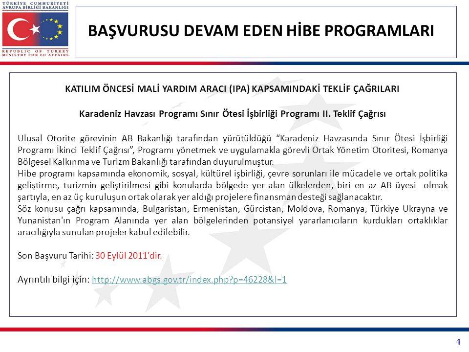 4 BAŞVURUSU DEVAM EDEN HİBE PROGRAMLARI KATILIM ÖNCESİ MALİ YARDIM ARACI (IPA) KAPSAMINDAKİ TEKLİF ÇAĞRILARI Karadeniz Havzası Programı Sınır Ötesi İşbirliği Programı II.