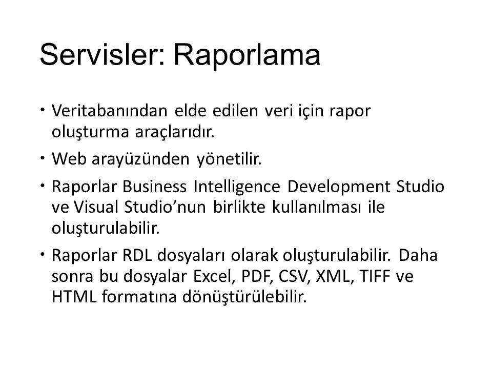 Servisler: Raporlama  Veritabanından elde edilen veri için rapor oluşturma araçlarıdır.  Web arayüzünden yönetilir.  Raporlar Business Intelligence