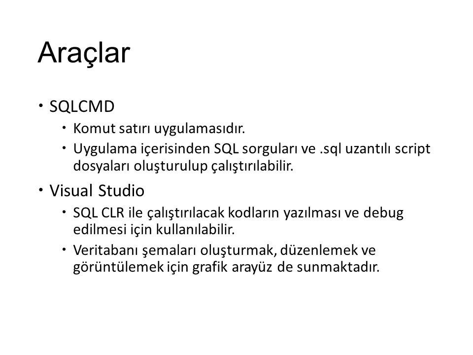 Araçlar  SQLCMD  Komut satırı uygulamasıdır.  Uygulama içerisinden SQL sorguları ve.sql uzantılı script dosyaları oluşturulup çalıştırılabilir.  V