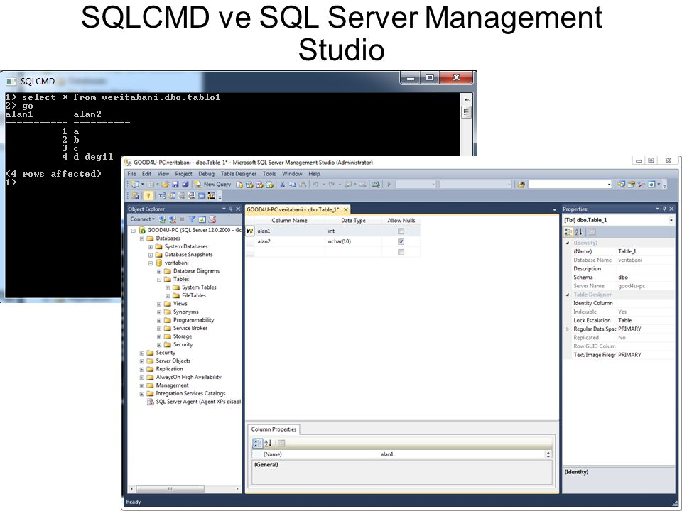 SQLCMD ve SQL Server Management Studio