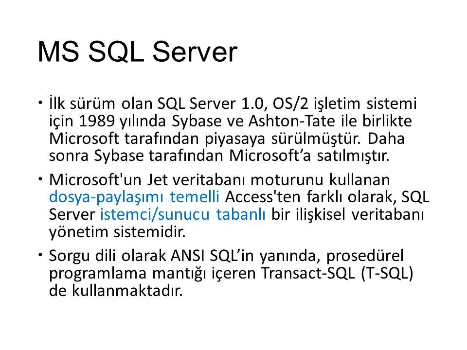 MS SQL Server  İlk sürüm olan SQL Server 1.0, OS/2 işletim sistemi için 1989 yılında Sybase ve Ashton-Tate ile birlikte Microsoft tarafından piyasaya