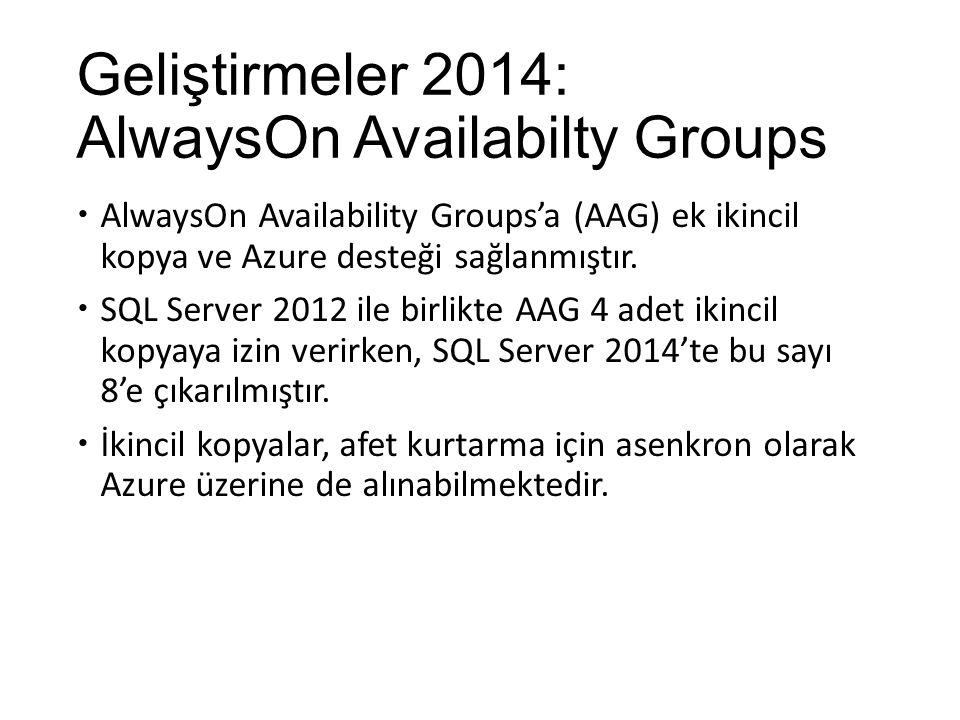 Geliştirmeler 2014: AlwaysOn Availabilty Groups  AlwaysOn Availability Groups'a (AAG) ek ikincil kopya ve Azure desteği sağlanmıştır.  SQL Server 20