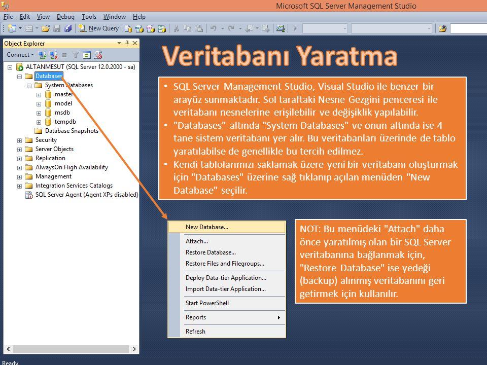 SQL Server Management Studio, Visual Studio ile benzer bir arayüz sunmaktadır. Sol taraftaki Nesne Gezgini penceresi ile veritabanı nesnelerine erişil