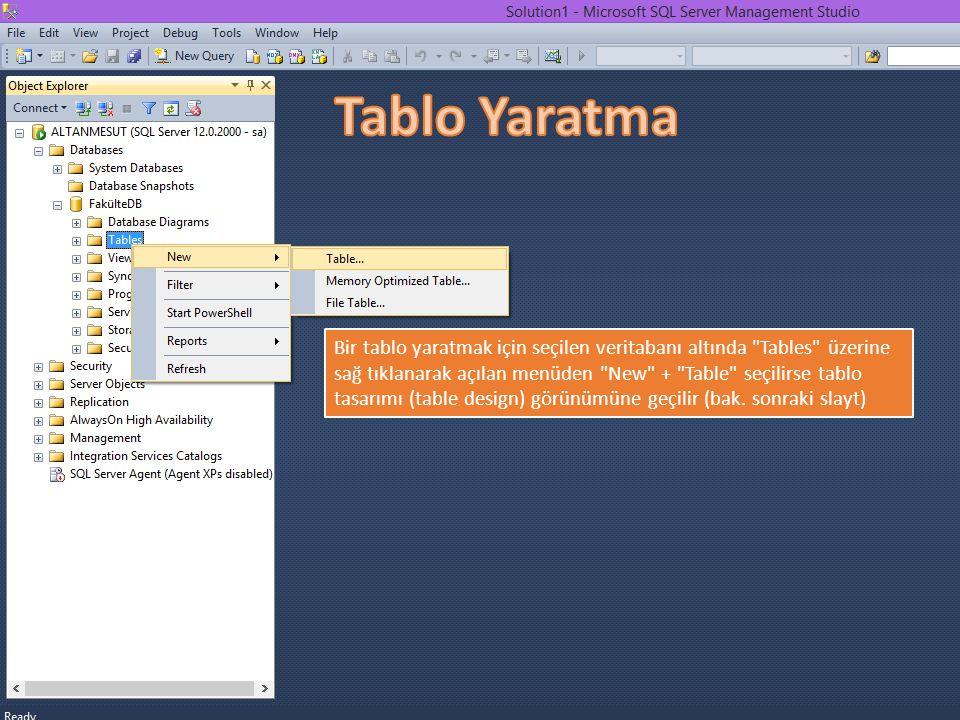 Bir tablo yaratmak için seçilen veritabanı altında Tables üzerine sağ tıklanarak açılan menüden New + Table seçilirse tablo tasarımı (table design) görünümüne geçilir (bak.
