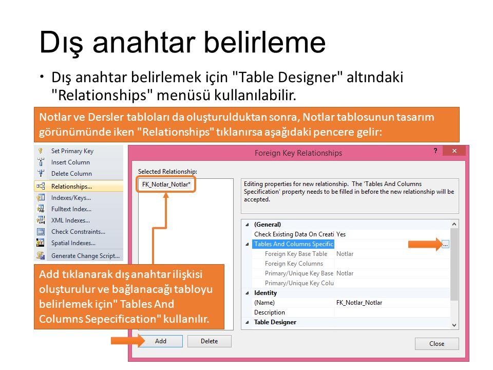Dış anahtar belirleme  Dış anahtar belirlemek için Table Designer altındaki Relationships menüsü kullanılabilir.