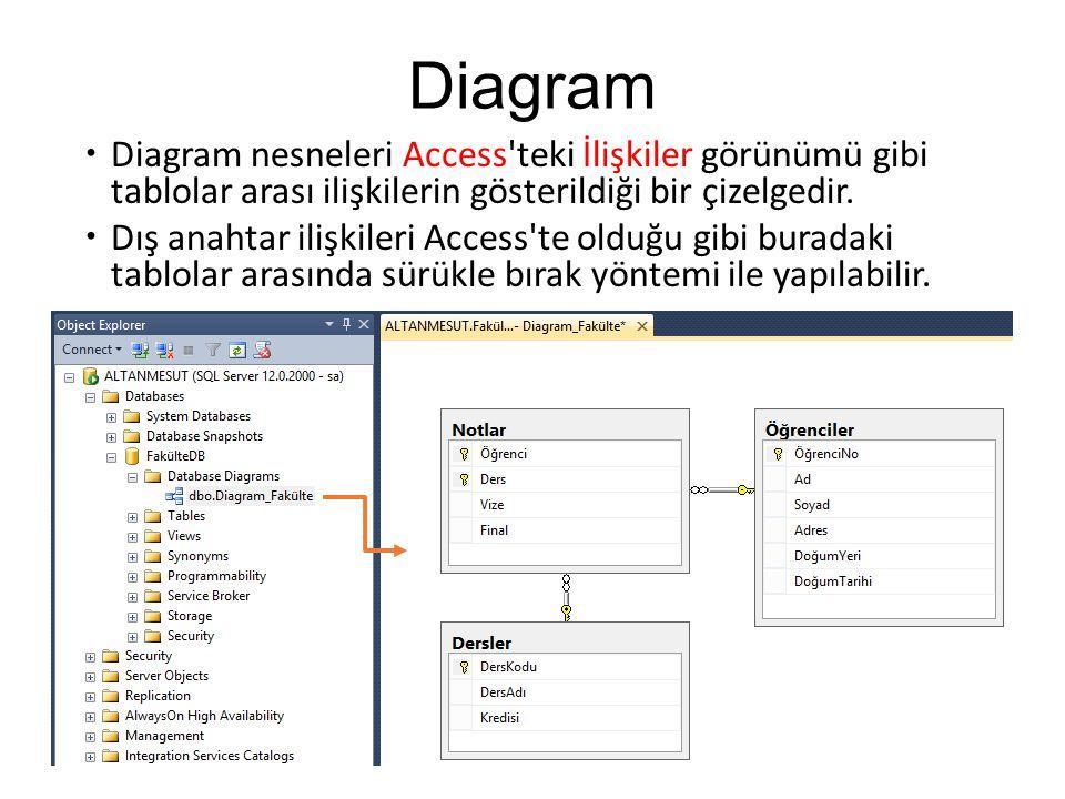 Diagram  Diagram nesneleri Access'teki İlişkiler görünümü gibi tablolar arası ilişkilerin gösterildiği bir çizelgedir.  Dış anahtar ilişkileri Acces