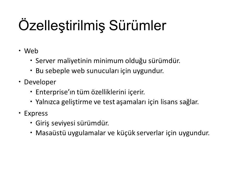 Özelleştirilmiş Sürümler  Web  Server maliyetinin minimum olduğu sürümdür.  Bu sebeple web sunucuları için uygundur.  Developer  Enterprise'ın tü