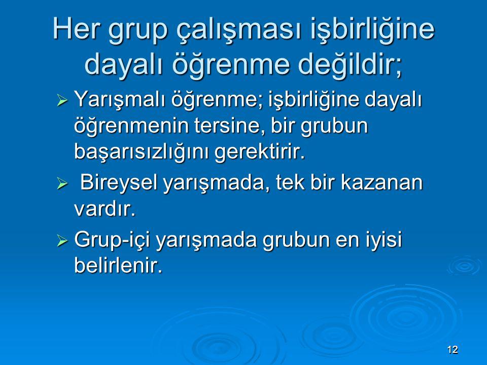 1212 Her grup çalışması işbirliğine dayalı öğrenme değildir;  Yarışmalı öğrenme; işbirliğine dayalı öğrenmenin tersine, bir grubun başarısızlığını ge