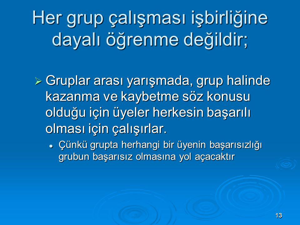 1313 Her grup çalışması işbirliğine dayalı öğrenme değildir;  Gruplar arası yarışmada, grup halinde kazanma ve kaybetme söz konusu olduğu için üyeler