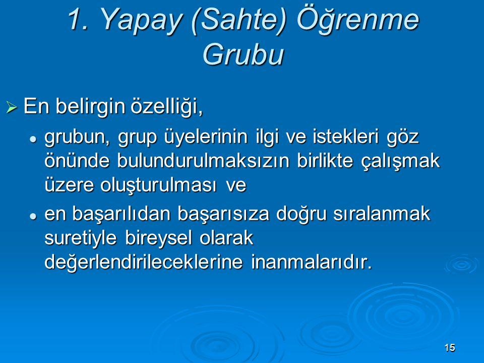 1515 1. Yapay (Sahte) Öğrenme Grubu  En belirgin özelliği, grubun, grup üyelerinin ilgi ve istekleri göz önünde bulundurulmaksızın birlikte çalışmak