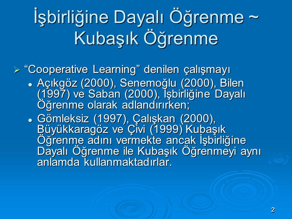 """22 İşbirliğine Dayalı Öğrenme ~ Kubaşık Öğrenme  """"Cooperative Learning"""" denilen çalışmayı Açıkgöz (2000), Senemoğlu (2000), Bilen (1997) ve Saban (20"""