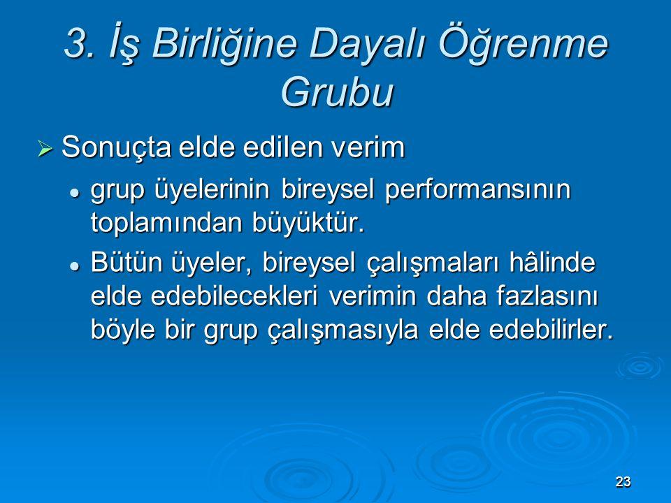 2323 3. İş Birliğine Dayalı Öğrenme Grubu  Sonuçta elde edilen verim grup üyelerinin bireysel performansının toplamından büyüktür. grup üyelerinin bi
