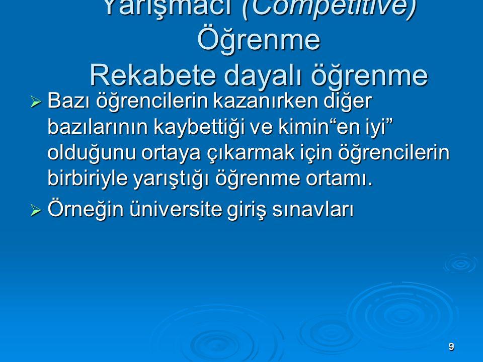 """99 Yarışmacı (Competitive) Öğrenme Rekabete dayalı öğrenme  Bazı öğrencilerin kazanırken diğer bazılarının kaybettiği ve kimin""""en iyi"""" olduğunu ortay"""