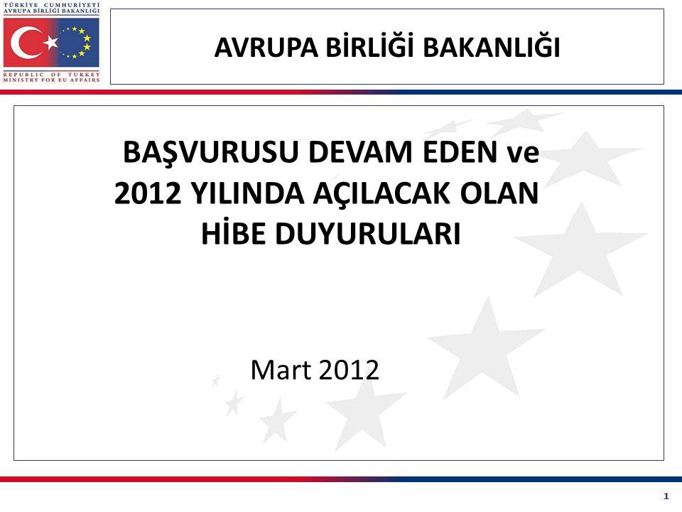 1 AVRUPA BİRLİĞİ BAKANLIĞI BAŞVURUSU DEVAM EDEN ve 2012 YILINDA AÇILACAK OLAN HİBE DUYURULARI Mart 2012
