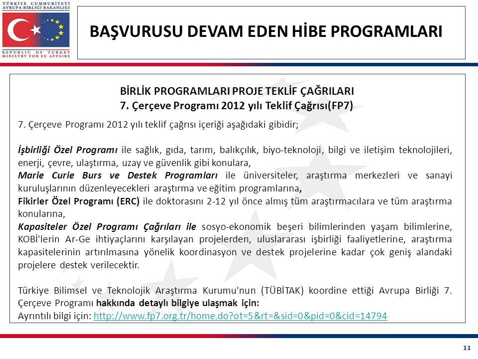 11 BAŞVURUSU DEVAM EDEN HİBE PROGRAMLARI 7. Çerçeve Programı 2012 yılı teklif çağrısı içeriği aşağıdaki gibidir; İşbirliği Özel Programı ile sağlık, g