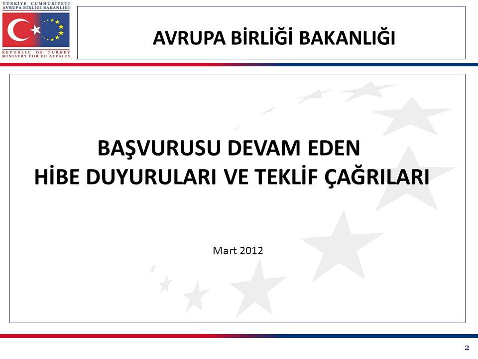 2 AVRUPA BİRLİĞİ BAKANLIĞI BAŞVURUSU DEVAM EDEN HİBE DUYURULARI VE TEKLİF ÇAĞRILARI Mart 2012