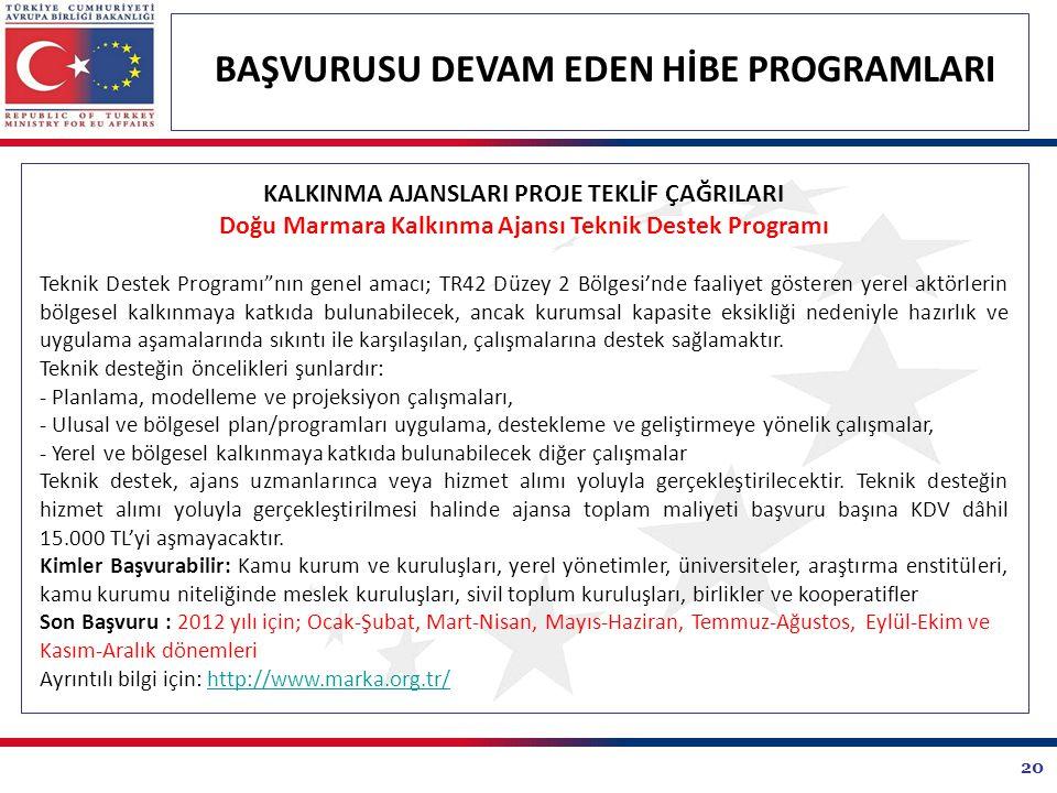20 BAŞVURUSU DEVAM EDEN HİBE PROGRAMLARI KALKINMA AJANSLARI PROJE TEKLİF ÇAĞRILARI Doğu Marmara Kalkınma Ajansı Teknik Destek Programı Teknik Destek Programı nın genel amacı; TR42 Düzey 2 Bölgesi'nde faaliyet gösteren yerel aktörlerin bölgesel kalkınmaya katkıda bulunabilecek, ancak kurumsal kapasite eksikliği nedeniyle hazırlık ve uygulama aşamalarında sıkıntı ile karşılaşılan, çalışmalarına destek sağlamaktır.
